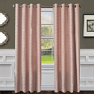 "Vaughn 96"" Jacquard Chevron Panel Curtain, Pink Blossom, large"