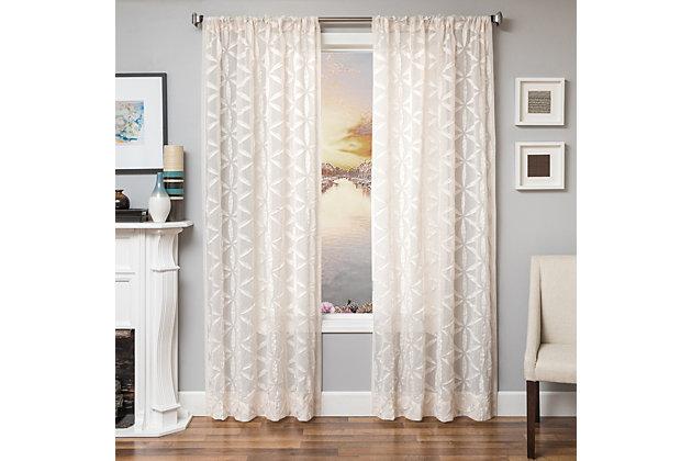 "Celestia 96"" Sheer Panel Curtain, Natural, large"