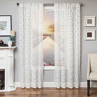 """Celestia 84"""" Sheer Panel Curtain, White, rollover"""