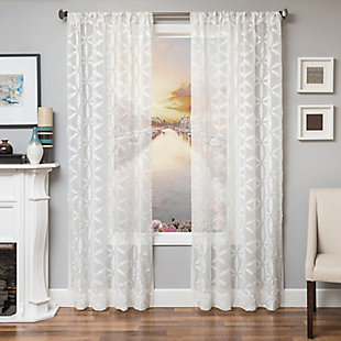 "Celestia 84"" Sheer Panel Curtain, White, large"