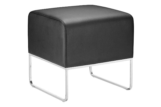 Plush Black Chromed Steel Leg Stool, Black, large