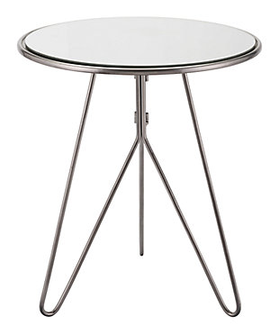 Lucy Silver Mirrored End Table, , large