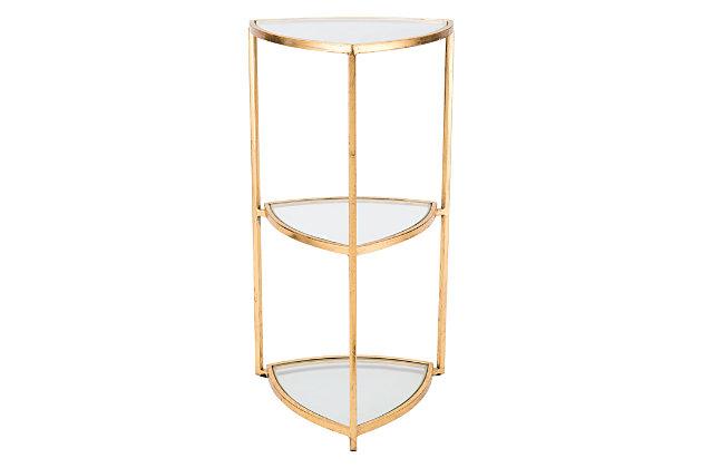 Tri Tri Level Gold Corner Table, , large