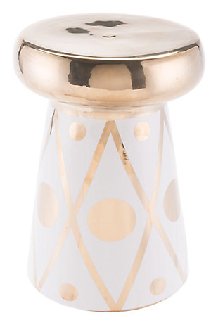 Dots White and Gold finish Garden Accent Table, , large