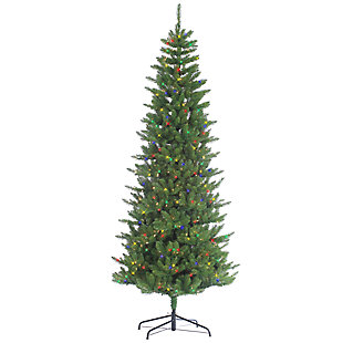 Holiday 7.5Ft. Narrow Augusta Pine Christmas Tree w/ Colored Lights, , large