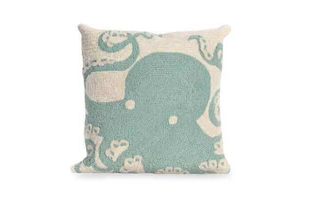 Deckside Sea King Indoor/Outdoor Pillow, Blue, large