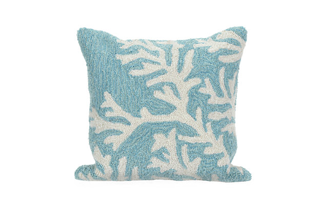 Deckside Ocean Branch Indoor/Outdoor Pillow, Blue, large