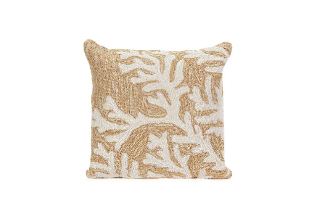 Deckside Ocean Branch Indoor/Outdoor Pillow, Natural, large