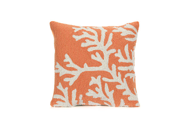 Deckside Ocean Branch Indoor/Outdoor Pillow, Orange, large