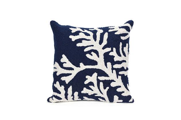 Deckside Ocean Branch Indoor/Outdoor Pillow, Blue, large