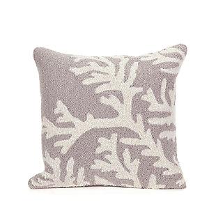 Deckside Ocean Branch Indoor/Outdoor Pillow, Gray, large