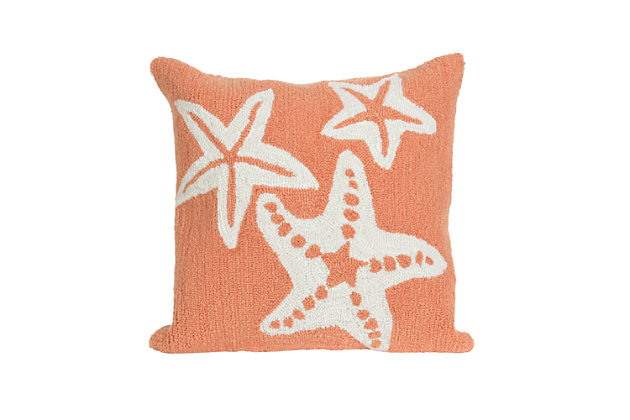 Deckside Ocean Gem Indoor/Outdoor Pillow, Orange, large