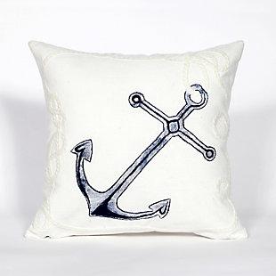 Spectrum II Marine Stripe Indoor/Outdoor Pillow, White, large