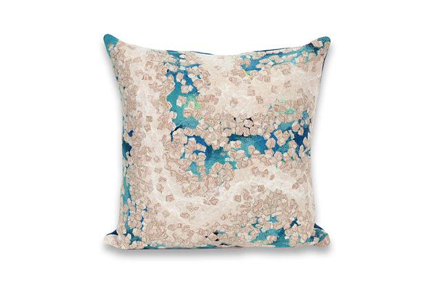 Spectrum III Abstract Indoor/Outdoor Pillow, Blue, large