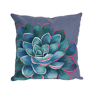 Spectrum III Opulent Flower Indoor/Outdoor Pillow, Blue, large