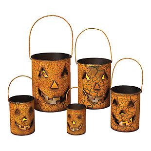 Fall Metal Jack O'Lantern Luminaries (Set of 5), , large