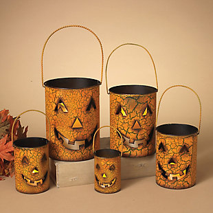 Fall Metal Jack O'Lantern Luminaries (Set of 5), , rollover