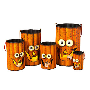 Fall Nested Metal Pumpkin Luminaries (Set of 5), , large