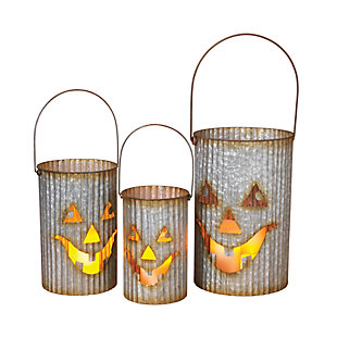 Halloween Nested Corrugated Metal Pumpkin Luminaries (Set of 3), , large