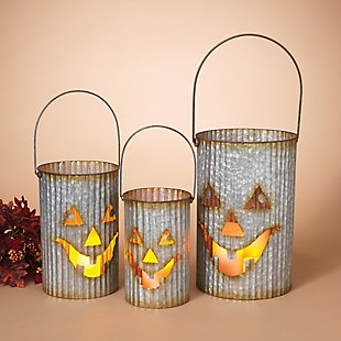 Halloween Nested Corrugated Metal Pumpkin Luminaries (Set of 3), , rollover