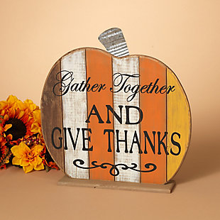 Fall Wooden Tabletop Pumpkin (Set of 2), , rollover