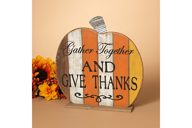 Fall Wooden Tabletop Pumpkin (Set of 2), , large