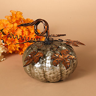 Fall Silver Metal Pumpkin (Set of 2), , rollover