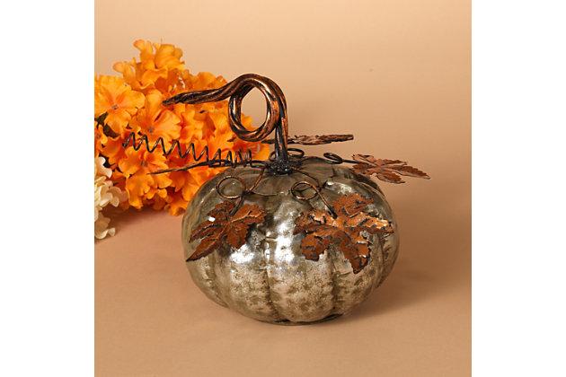 Fall Silver Metal Pumpkin (Set of 2), , large