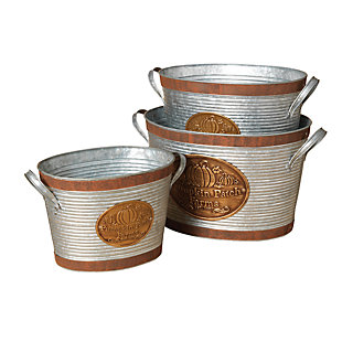 Fall Nested Silver Galvanized Metal Pumpkin Patch Farms Buckets (Set of 3), , large