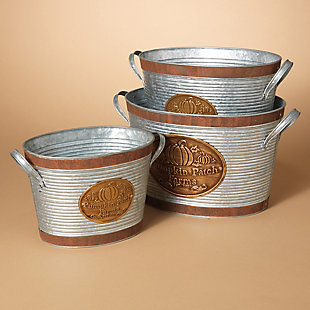 Fall Nested Silver Galvanized Metal Pumpkin Patch Farms Buckets (Set of 3), , rollover