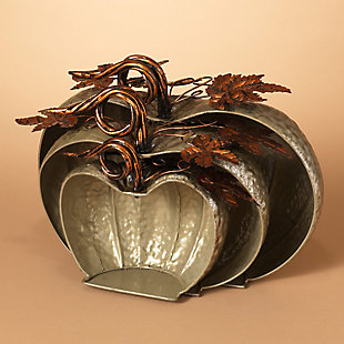 Fall Sized Hammered Metal Pumpkins (Set of 3), , large