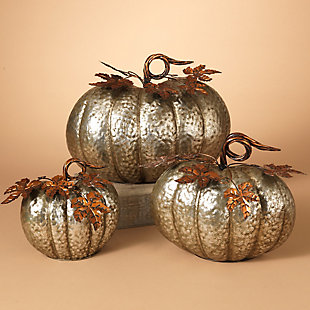 Fall Sized Hammered Metal Pumpkins (Set of 3), , rollover