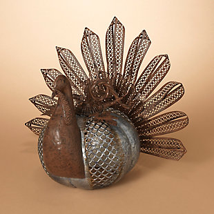 Fall Galvanized Rusted Metal Turkey with Textured Pumpkin Body, , rollover