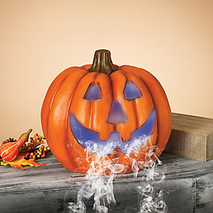 Fall 14-Inch Color Changing Smoking Halloween Pumpkin, , rollover