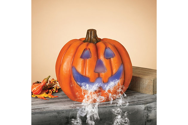 Fall 14-Inch Color Changing Smoking Halloween Pumpkin, , large