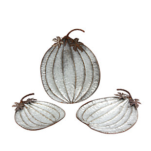 Fall Assorted Metal Pumpkin Plates (Set of 3), , large