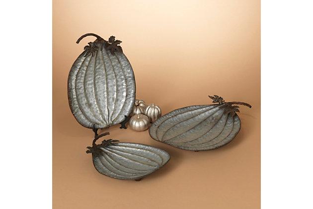Fall Assorted Metal Pumpkin Plates (Set of 3), , large