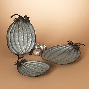 Fall Assorted Metal Pumpkin Plates (Set of 3), , rollover