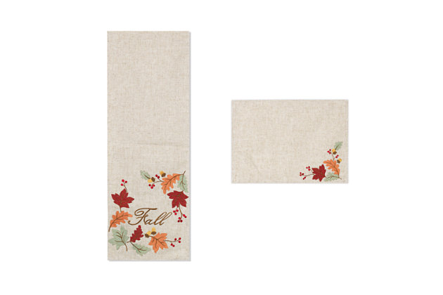 Fall Embroidered Leaf Table Runner and Placemats (Set of 5), , large