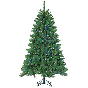 Holiday 7Ft. Montana Pine Christmas Tree with Multi-colored Lights, , large