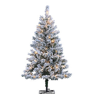 Holiday 4Ft. Flocked Colorado Spruce Christmas Tree w/ Clear Lights, , large