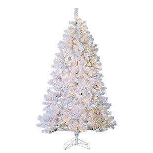 Holiday 7ft. Flocked Montana Pine Christmas Tree w/ Clear Lights, , large