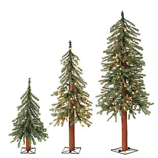 Holiday Lit Christmas Alpine Trees w/ Metal Wire Base (Set of 3), , rollover
