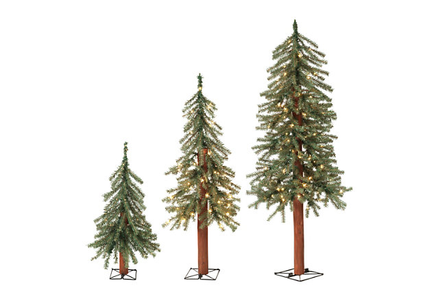 Holiday Lit Christmas Alpine Trees w/ Metal Wire Base (Set of 3), , large