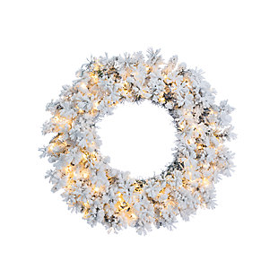 Holiday 30-Inch Flocked Wyoming Snow Pine Wreath with White Lights, , large