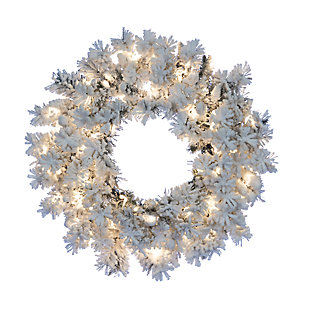 Holiday 24-Inch Flocked Wyoming Snow Pine Wreath with White Lights, , large