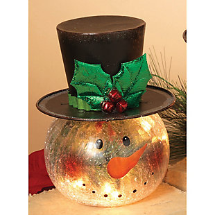 Holiday Electric Lighted Crackle Glass Smowman Figurine (Set of 2), , rollover