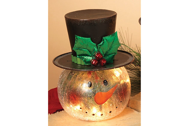 Holiday Electric Lighted Crackle Glass Smowman Figurine (Set of 2), , large