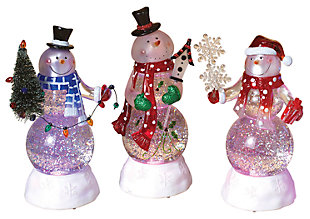 Holiday 8.75-in. Snowman Globes w/ Color-Changing Lights (Set of 3), , large