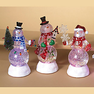 Holiday 8.75-in. Snowman Globes w/ Color-Changing Lights (Set of 3), , rollover